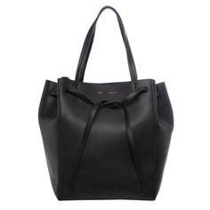 Celine Medium 'Cabas Phantom' Black Grainy Leather Tote | Overstock.com Shopping - Big Discounts on Celine Designer Handbags