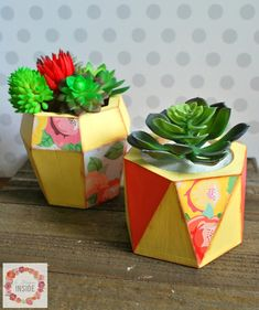 how to decorate geometric wood vases with Mod Podge and paint