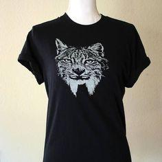 Lynx Shirt, Big Cat Shirt, Casual Shirt, Wildlife Shirt, Animal Shirt, Black Shirt, Gift for Him, Animal Lover Gift, Gifts under 25