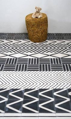 Handmade tiles can be colour coordinated and customized re. shape, texture, pattern, etc. by ceramic design studios - Model Home Interior Design Geometric Patterns, Floor Patterns, Tile Patterns, Textures Patterns, Geometric Tiles, Pattern Ideas, Floor Design, Tile Design, Ceramic Design