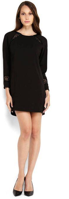 SWEEWE Black Lace Panel Shift Dress http://stylesvogue.com/homecoming-dresses-2014/