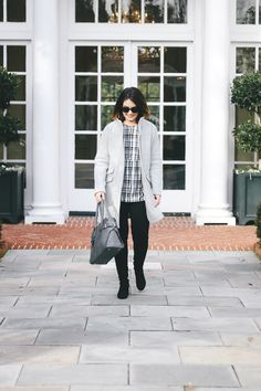 affordable winter blouse, checkmate, loft blouse, affordable clothing for women, loft girl, black and white outfit, great fitting denim for curvy women, AG denim, otk boots outfit, how to style otk boots, j crew coat