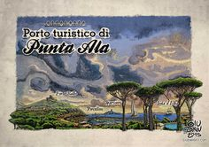PuntaAla engraving illustration. Retrò print poster