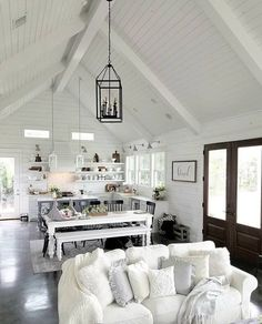 I Spy Antique Farmhouse decor in this gorgeous What a stunning, light, bright space from that gorgeous vaulted ceiling to the wood floor beneath! Antique Farmhouse, Farmhouse Plans, Farmhouse Decor, Farmhouse Style, Kitchen Open Concept, Cottage Interiors, Living Room Lighting, Room Lights, Great Rooms