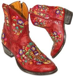 Mexicana 40mm Leather Embroidered Floral Boots in Red