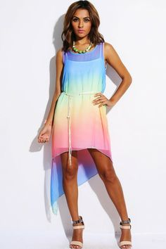 Trendy Cute rainbow ombre chiffon chain belted high low party dress fo cheap | Affordable Clothing | 1015 store