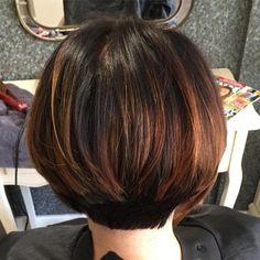 Copper highlights for dark brown hair Copper Highlights On Brown Hair, Copper Brown Hair, Balayage Hair Copper, Balayage Highlights, Light Brown Hair, Short Dark Hair, Short Hair With Layers, Short Hair Cuts, Short Hair Styles