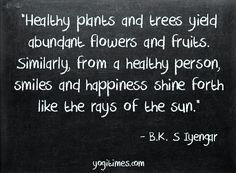Healthy plants and trees yield abundant flowers and fruits. Similarly, from a healthy person, smiles and happiness shine forth like the rays of the sun. - BK Iyengar