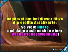 Arme Rapunzel! #Sommer #Hitze #Sonne #Spruchbilder #Humor #lustig #Sprüche