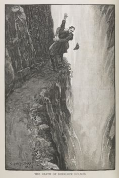 Print of Holmes and Moriarty fighting over the Reichenbach Falls. Illustration for the short story The Final Problem by Arthur Conan Do, Artist: Paget, Sidney Edward Sherlock Holmes, Watson Sherlock, Jim Moriarty, Sir Arthur, Arthur Conan Doyle, Benedict Cumberbatch, Professor, The Reichenbach Fall, Detective