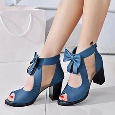 PU Zipper Hollow Block Heel Women's Sandals #Sandals #Women'sFashion
