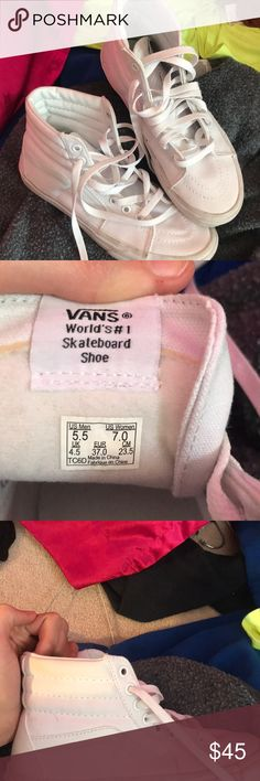 white canvas sk8-hi shoes only been worn one time! very comfortable and cute with a lot of outfits!! Vans Shoes Sneakers