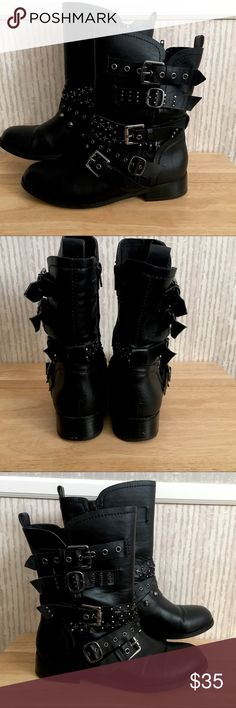 "👢TORRID buckle boots!  EUC! These fantastic boots have been worn only a handful of times!  I got them out for the upcoming season and realize they just aren't ""me"". Needs to go to a good home and be shown off!! torrid Shoes Combat & Moto Boots"