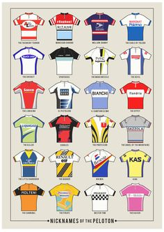 "Cycling Art Infographic Print (Medium) - Nicknames of the Peleton (Size A3, 16.5"" x 11.5""). £19.00, via Etsy."