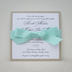 wedding invitation with bow: latte and seafoam for an elegant, beachy look