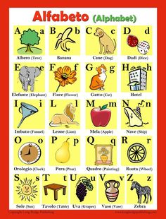 Italian Alphabet Poster (bilingual: Italian-English) Colorful school poster made with high quality glossy paper All letters of the Italian Alphabet Poster inches (approximately size: mm) Language: Italian Italian Phrases, Italian Words, Alphabet Charts, Abc Alphabet, Italian Alphabet, Italian Language School, Learn To Speak Italian, Italian Lessons, Teaching Supplies