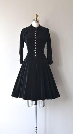1950's Black Velvet Dress