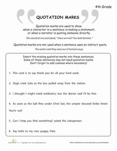 quotation mark practice grammar worksheets quotation marks punctuation activities middle. Black Bedroom Furniture Sets. Home Design Ideas