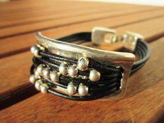 women black leather bracelet sterling silver plated half by kekugi