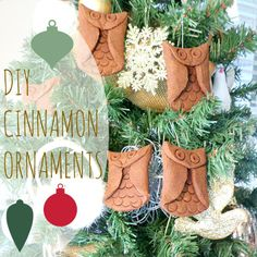 Delicious smelling Aromatic cinnamon owl ornaments | tutorial | christmas tree DIY| Glits and Glam Woodland themed Christmas Tree | CorinnaA...