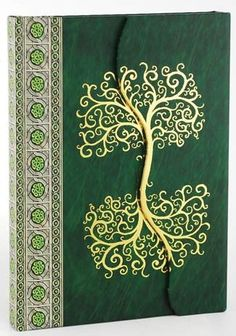"The hardbound Celtic Tree Journal folds over itself upon its front face, sealing closed magnetically with its seam mirror the wavy trunk of the Celtic tree of life design it displays. Measures 5"" x 7"""