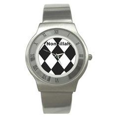 Black and white stainless steel watch from the Noneillah's collection.
