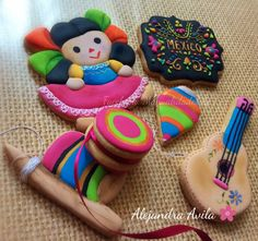 Mexican Birthday Parties, Mexican Party, Baby Cookies, Cupcake Cookies, Ginger Cookies, Sugar Cookies, Mexican Cookies, Sugar Cookie Royal Icing, Baking And Pastry