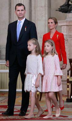 Abdication of King Juan Carlos I of Spain June 18, 2014:Crown Prince Felipe, Infanta Elena, Duchess of Lugo and Infantas Leonor and Sofia