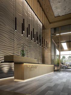 The Lennox — Lorena Gaxiola Official Site Hotel Reception Desk, Reception Desk Design, Lobby Reception, Modern Hotel Lobby, Hotel Lobby Design, Lobby Interior, Office Interior Design, Hotel Foyer, Jewelry Store Design
