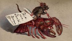 """""""The Victorians loved natural history, which might explain why a mouse rides a lobster on this 1880 Christmas card, which wishes the recipient 'Paix, Joie, Sante, Bonheur,' or 'Peace, Joy, Health and Happiness.'"""""""