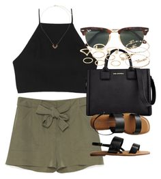 """""""Outfit for summer with khaki shorts"""" by ferned on Polyvore featuring rag & bone, Karl Lagerfeld, Gap, Ray-Ban, Charlotte Russe, ASOS and Topshop"""