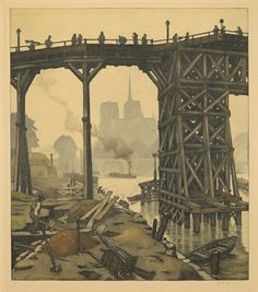 Temporary Bridge L'Estacade (early 20thC.). Jaromir Stretti-Jamponi. Signed color etching and aquatint