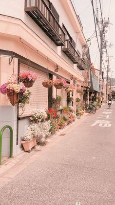 Baby Pink Aesthetic, Peach Aesthetic, Aesthetic Japan, City Aesthetic, Aesthetic Themes, Aesthetic Images, Aesthetic Photo, Soft Wallpaper, Anime Scenery Wallpaper