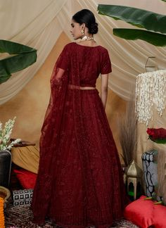 We are to breathe life into your aspirations and to make a mark in the world of style. An outstanding maroon net a line lehenga choli will make you look very stylish and graceful. This attire is beautifully adorned with embroidered and thread work. Comes with matching choli and dupatta. (Slight variation in color, fabric & work is possible. Model images are only representative.) Indian Wedding Lehenga, Thread Work, Lehenga Choli, Breathe, Bridal, Stylish, Fabric, Model, How To Wear