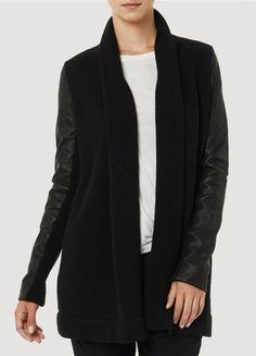Vince Leather Sleeve Draped Jacket