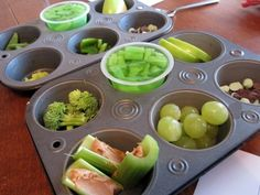 put nine different green foods (grapes, broccoli, apples, celery, and so on) in a muffin tin and asked my kids to sample each. I was stoked when they started trying (and loving) veggies that had never before touched their lips.    Then I made a chart with smiley and frowny faces for my kidlets to circle based on their findings. I was surprised to see that my daughter Priscilla had more smiley faces circled than not — and she's even been begging to taste test red foods next.