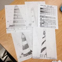 4th grade lighthouses and shading...there were lots of silver fingers today. ✏️