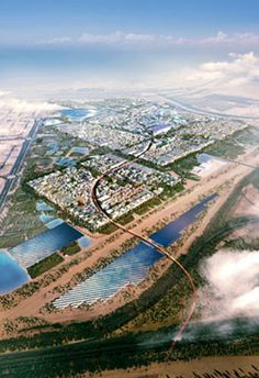 """Designed by the British firm Foster + Partners, Masdar City (meaning """"the source"""" in Arabic) was created to inspire urban planning of the future. 