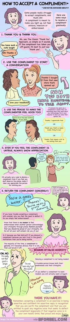Here's how to accept a compliment about your work (which will help build your confidence!): | 15 Charts All Creative People Definitely Need