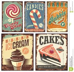 Vintage Candy Shop Collection Of Tin Signs Stock Vector - Image: 66515652