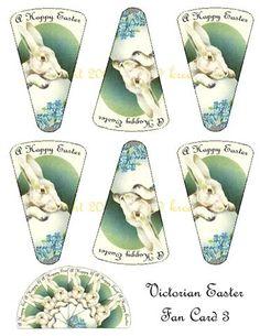 Victorian Easter Fan Card 3-easter, fan, victorian fan card, card, collage sheet, printable $4