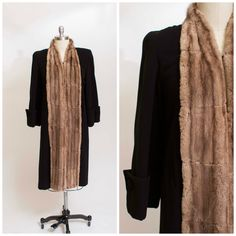 1940s Vintage Coat Cozy Black Wool and Tan Fur by stutterinmama