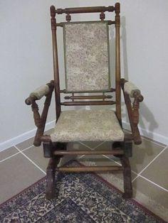 Antique Vintage Pedestal Platform Rocking Chair Spindle