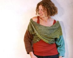 Olive Aqua Brown color blocked X-Tee weekend sweater, boxy chunky warm, soft mohair cotton silk blend