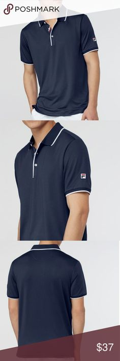 《NWT》Fila Heritage Mesh Polo (SM) Navy - heritage mesh: 92% polyester/ 8% spandex - embroidered patch f-box logo - three button placket with contrast color piping and f-thread buttons - flat knit collar and cuff with contrast color tipping - striped knit taping on inside of placket, inside back neck and in side vents  This lightweight, breathable mesh polo fits well in just about any athlete's closet. Reach for this when you want to feel a soft, breezy wind as your blow by your…