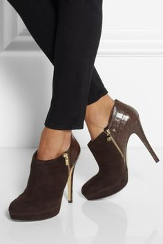 MICHAEL Michael Kors|York croc-effect leather and suede ankle boots|NET-A-PORTER.COM