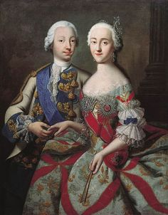 Grand Dukes Peter Fedorovich and Catherine Alexeevna by Georg Christoph Grooth (c.1745, Odessa museum)