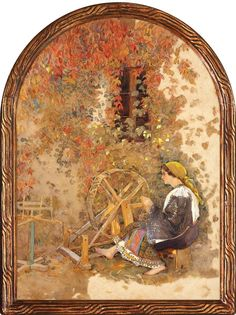 Nicolae Grant, Alegorie a portului national Verona, Romania, Painters, Art Images, Spinning, Country, Hand Spinning, Art Pictures, Rural Area