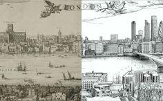 Zoek de overeenkomsten. Een panorama uit 1616 van Londen gemaakt door Claes Jansz Visscher is 4 eeuwen later door Robin Reynolds opnieuw gemaakt met de huidige skyline.
