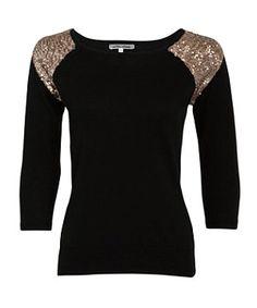 Black (Black) Black Sequin Shoulder Knitted Jumper | 261408701 | New Look